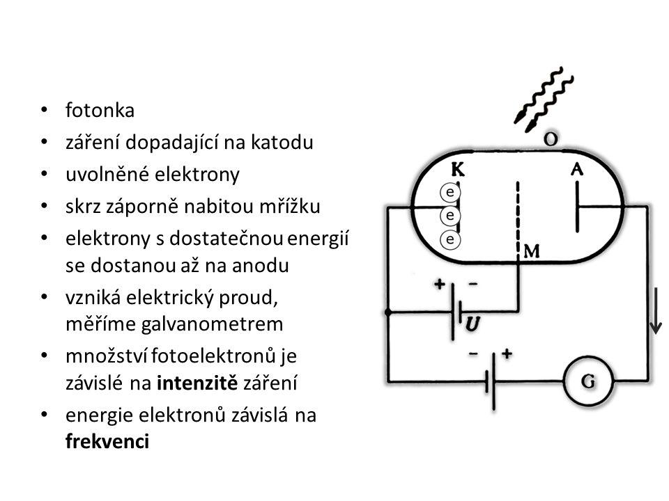 fotonka záření dopadající na katodu uvolněné elektrony skrz záporně nabitou mřížku elektrony s dostatečnou energií se dostanou až na anodu vzniká elektrický proud, měříme galvanometrem množství fotoelektronů je závislé na intenzitě záření energie elektronů závislá na frekvenci