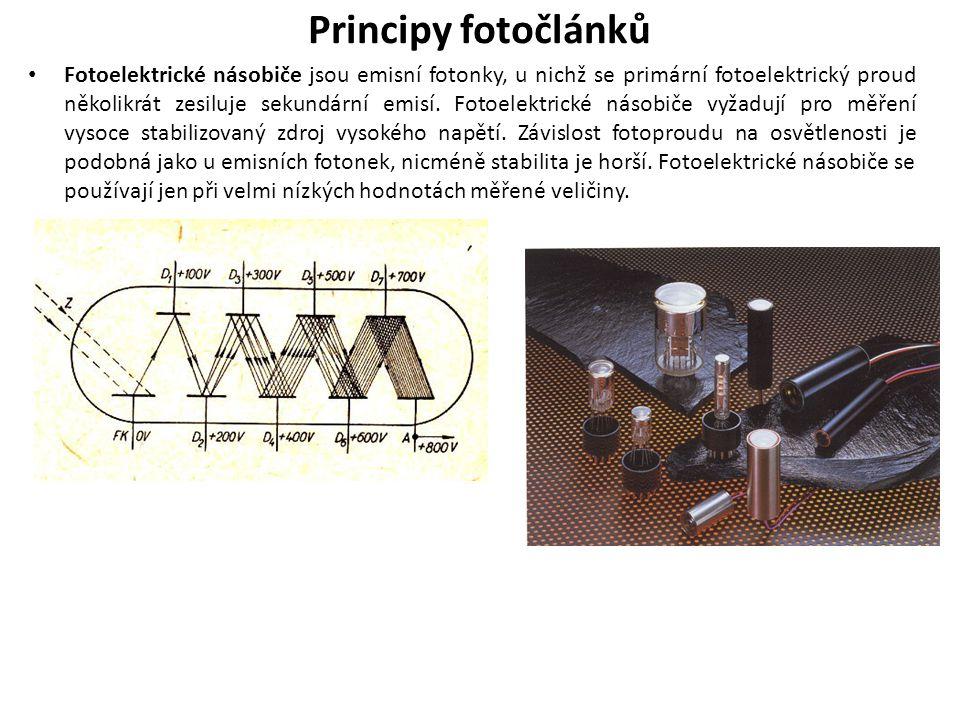 Principy fotočlánků Fotoelektrické násobiče jsou emisní fotonky, u nichž se primární fotoelektrický proud několikrát zesiluje sekundární emisí.
