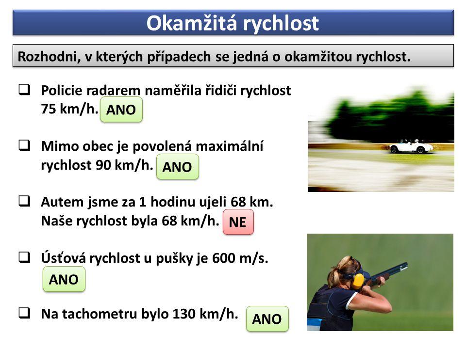 Okamžitá rychlost Rozhodni, v kterých případech se jedná o okamžitou rychlost.