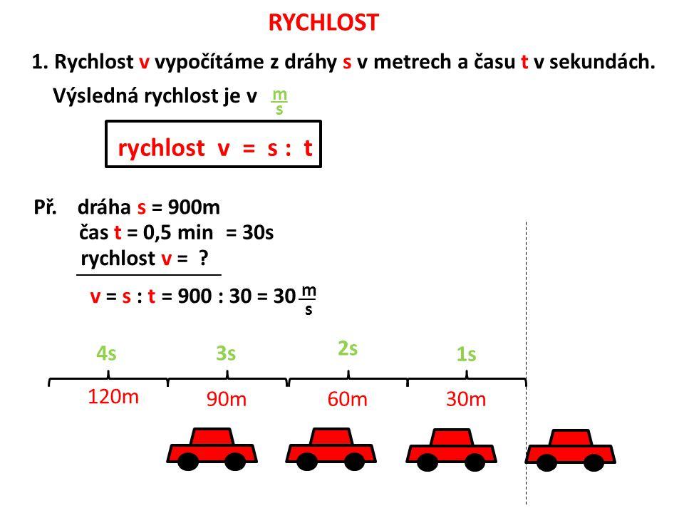 RYCHLOST __ m s 1.Rychlost v vypočítáme z dráhy s v metrech a času t v sekundách.