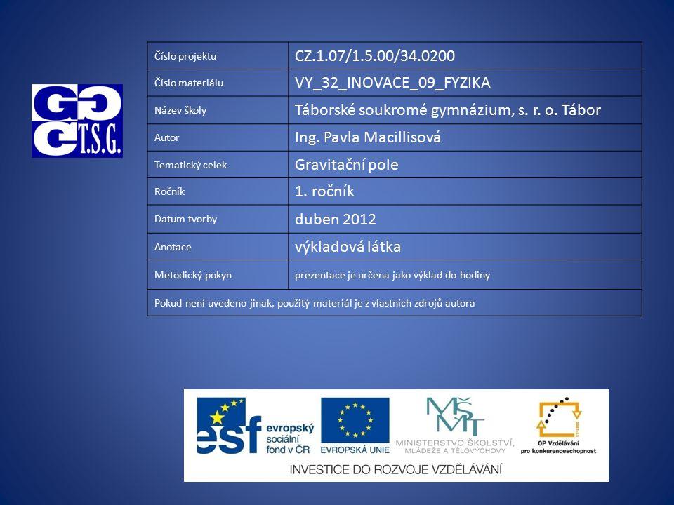 Číslo projektu CZ.1.07/1.5.00/34.0200 Číslo materiálu VY_32_INOVACE_09_FYZIKA Název školy Táborské soukromé gymnázium, s. r. o. Tábor Autor Ing. Pavla