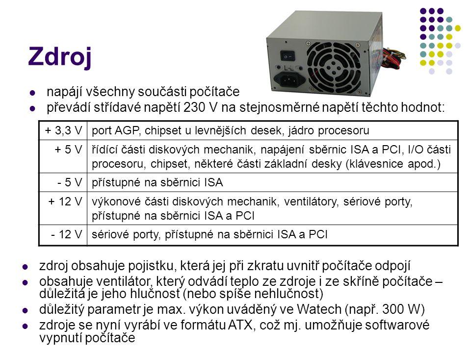 Zdroj napájí všechny součásti počítače převádí střídavé napětí 230 V na stejnosměrné napětí těchto hodnot: + 3,3 Vport AGP, chipset u levnějších desek