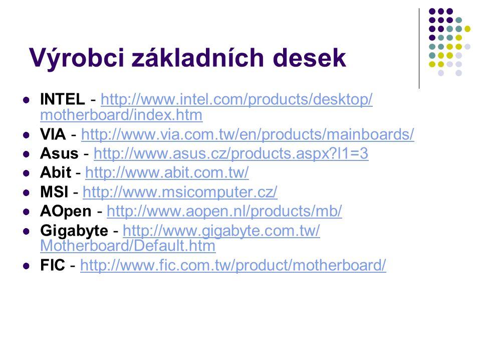 Výrobci základních desek INTEL - http://www.intel.com/products/desktop/ motherboard/index.htmhttp://www.intel.com/products/desktop/ motherboard/index.