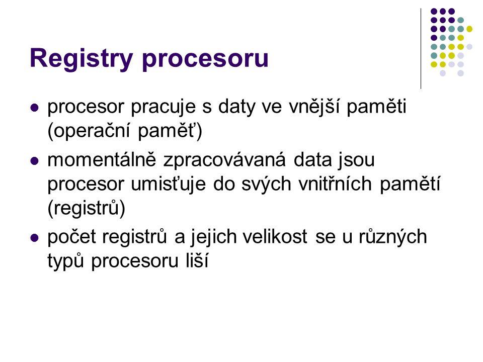 Registry procesoru procesor pracuje s daty ve vnější paměti (operační paměť) momentálně zpracovávaná data jsou procesor umisťuje do svých vnitřních pa