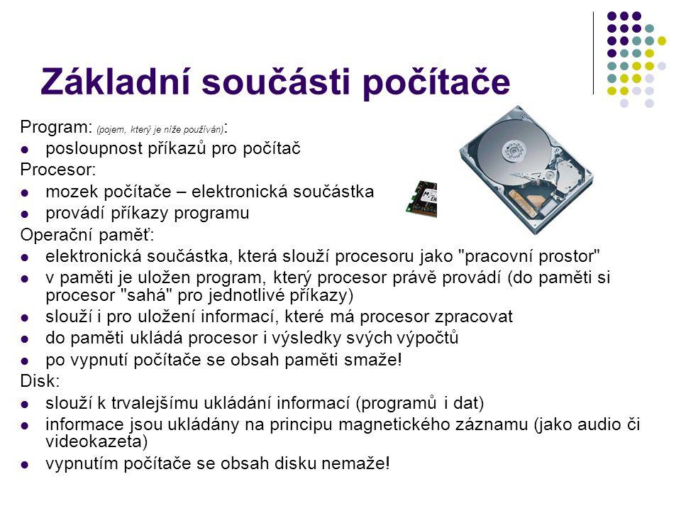 Základní součásti počítače Program: (pojem, který je níže používán) : posloupnost příkazů pro počítač Procesor: mozek počítače – elektronická součástk