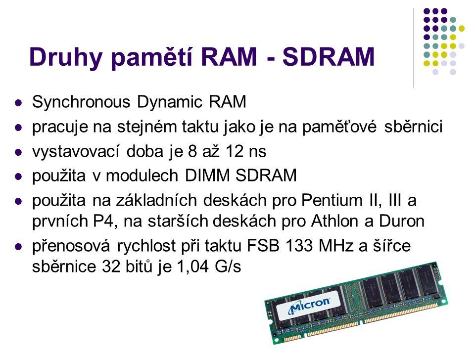 Druhy pamětí RAM - SDRAM Synchronous Dynamic RAM pracuje na stejném taktu jako je na paměťové sběrnici vystavovací doba je 8 až 12 ns použita v module