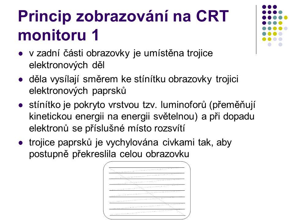 Princip zobrazování na CRT monitoru 1 v zadní části obrazovky je umístěna trojice elektronových děl děla vysílají směrem ke stínítku obrazovky trojici