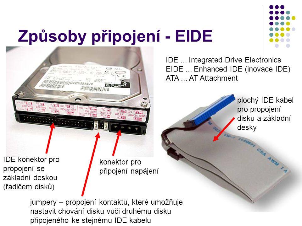 Způsoby připojení - EIDE IDE konektor pro propojení se základní deskou (řadičem disků) konektor pro připojení napájení jumpery – propojení kontaktů, k