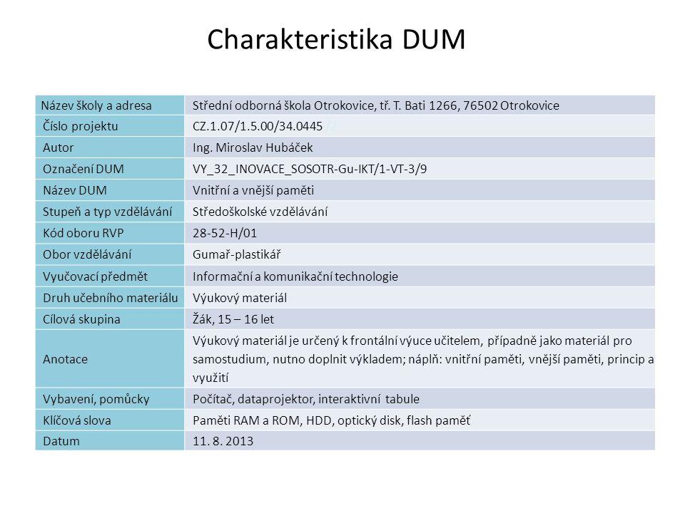Vnitřní a vnější paměti Náplň výuky Definice paměti Paměti typu RAM a ROM Pevné disky Externí paměti