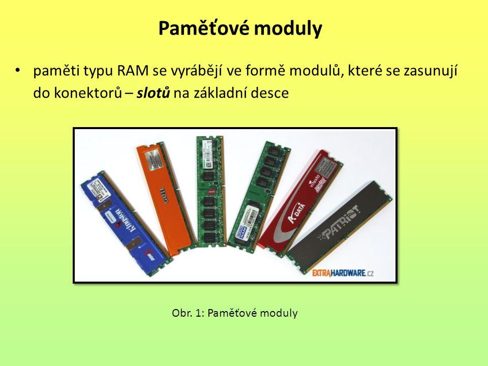 paměti typu RAM se vyrábějí ve formě modulů, které se zasunují do konektorů – slotů na základní desce Paměťové moduly Obr. 1: Paměťové moduly