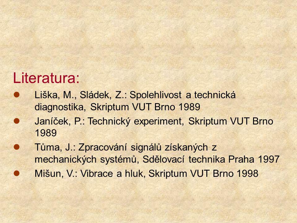 Literatura: Liška, M., Sládek, Z.: Spolehlivost a technická diagnostika, Skriptum VUT Brno 1989 Janíček, P.: Technický experiment, Skriptum VUT Brno 1989 Tůma, J.: Zpracování signálů získaných z mechanických systémů, Sdělovací technika Praha 1997 Mišun, V.: Vibrace a hluk, Skriptum VUT Brno 1998