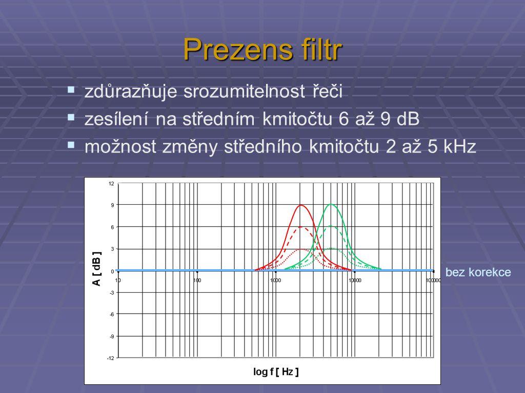 Prezens filtr  zdůrazňuje srozumitelnost řeči  zesílení na středním kmitočtu 6 až 9 dB  možnost změny středního kmitočtu 2 až 5 kHz bez korekce
