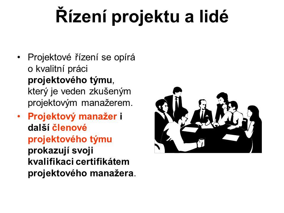 Řízení projektu a lidé Projektové řízení se opírá o kvalitní práci projektového týmu, který je veden zkušeným projektovým manažerem.