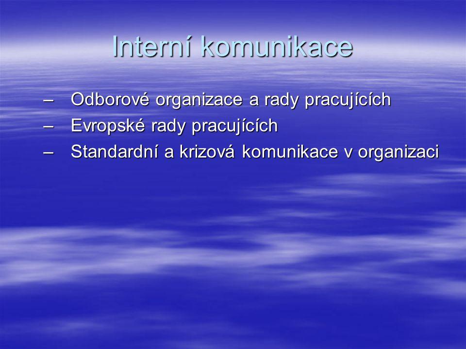 Interní komunikace –Odborové organizace a rady pracujících –Evropské rady pracujících –Standardní a krizová komunikace v organizaci
