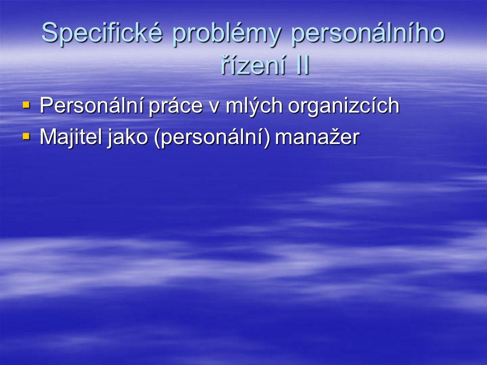 Specifické problémy personálního řízení II  Personální práce v mlých organizcích  Majitel jako (personální) manažer