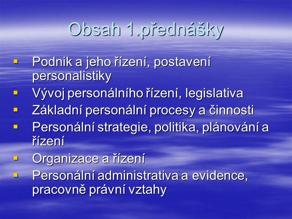 Obsah 1.přednášky  Podnik a jeho řízení, postavení personalistiky  Vývoj personálního řízení, legislativa  Základní personální procesy a činnosti 