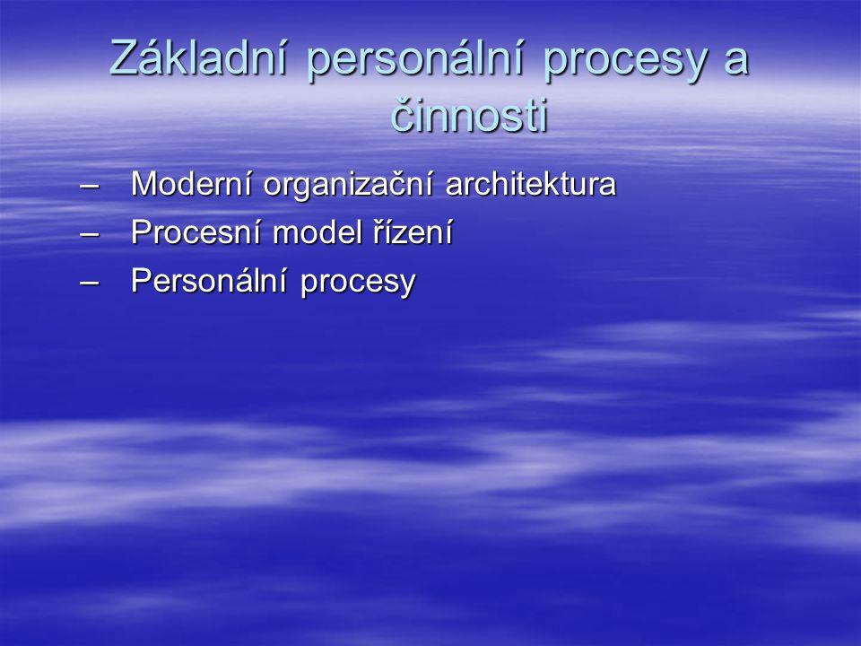 Základní personální procesy a činnosti –Moderní organizační architektura –Procesní model řízení –Personální procesy