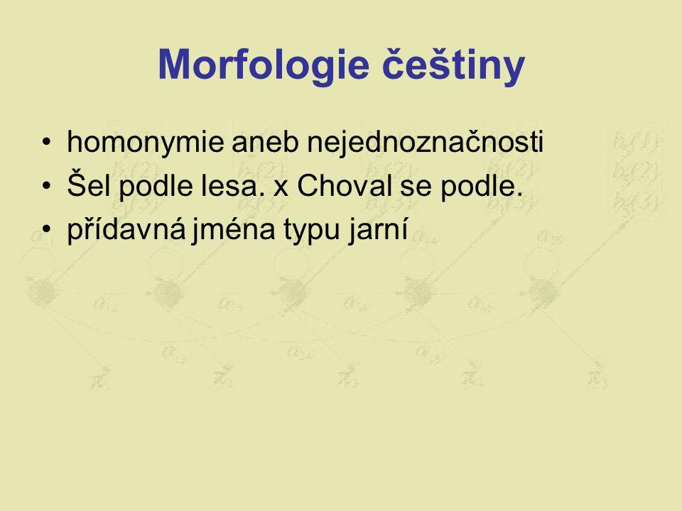 Morfologie češtiny homonymie aneb nejednoznačnosti Šel podle lesa. x Choval se podle. přídavná jména typu jarní