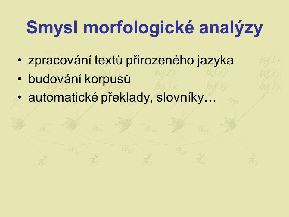 Smysl morfologické analýzy zpracování textů přirozeného jazyka budování korpusů automatické překlady, slovníky…