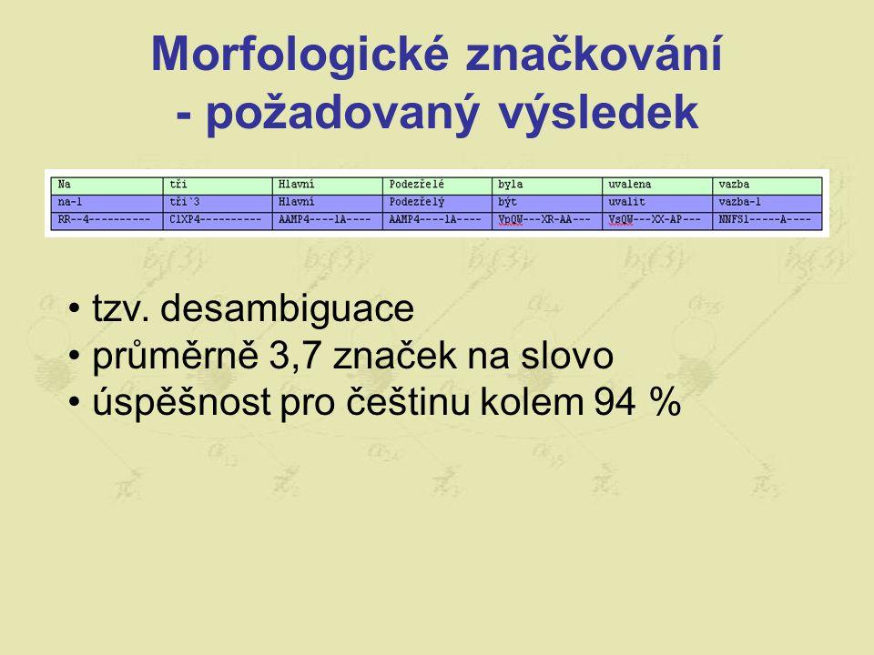 Morfologické značkování - požadovaný výsledek tzv. desambiguace průměrně 3,7 značek na slovo úspěšnost pro češtinu kolem 94 %