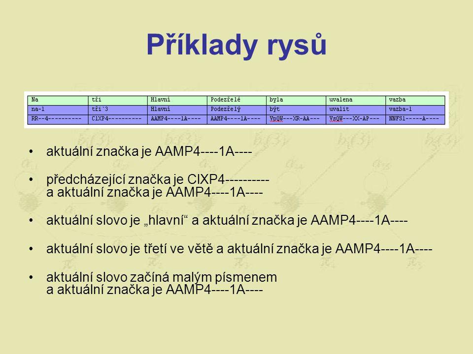 """Příklady rysů aktuální značka je AAMP4----1A---- předcházející značka je ClXP4---------- a aktuální značka je AAMP4----1A---- aktuální slovo je """"hlavní a aktuální značka je AAMP4----1A---- aktuální slovo je třetí ve větě a aktuální značka je AAMP4----1A---- aktuální slovo začíná malým písmenem a aktuální značka je AAMP4----1A----"""
