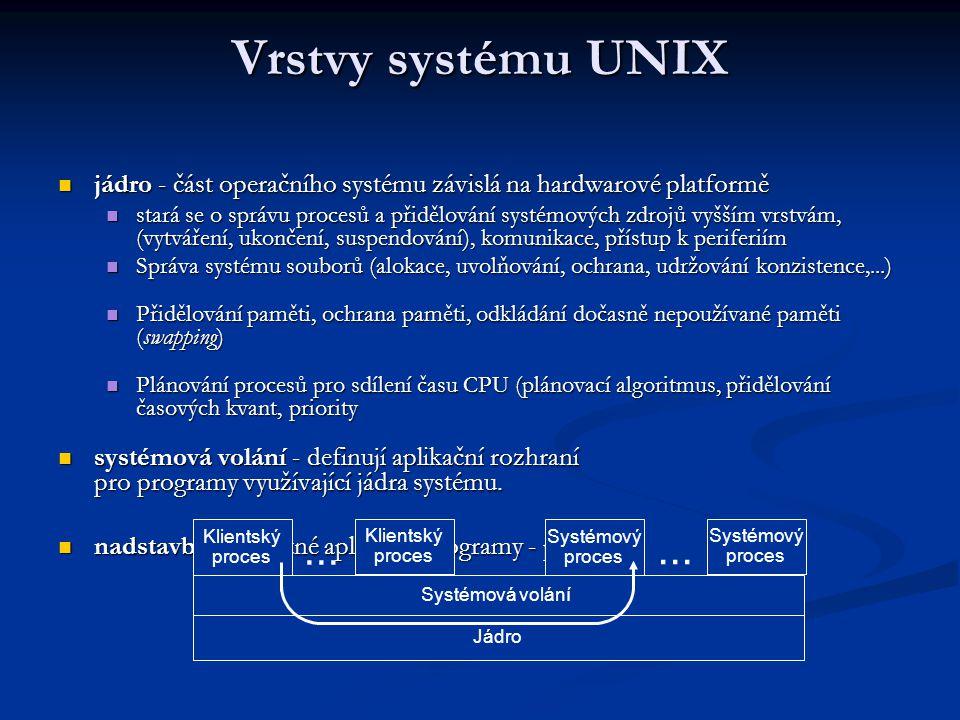 Vrstvy systému UNIX jádro - část operačního systému závislá na hardwarové platformě jádro - část operačního systému závislá na hardwarové platformě stará se o správu procesů a přidělování systémových zdrojů vyšším vrstvám, (vytváření, ukončení, suspendování), komunikace, přístup k periferiím stará se o správu procesů a přidělování systémových zdrojů vyšším vrstvám, (vytváření, ukončení, suspendování), komunikace, přístup k periferiím Správa systému souborů (alokace, uvolňování, ochrana, udržování konzistence,...) Správa systému souborů (alokace, uvolňování, ochrana, udržování konzistence,...) Přidělování paměti, ochrana paměti, odkládání dočasně nepoužívané paměti (swapping) Přidělování paměti, ochrana paměti, odkládání dočasně nepoužívané paměti (swapping) Plánování procesů pro sdílení času CPU (plánovací algoritmus, přidělování časových kvant, priority Plánování procesů pro sdílení času CPU (plánovací algoritmus, přidělování časových kvant, priority systémová volání - definují aplikační rozhraní pro programy využívající jádra systému.