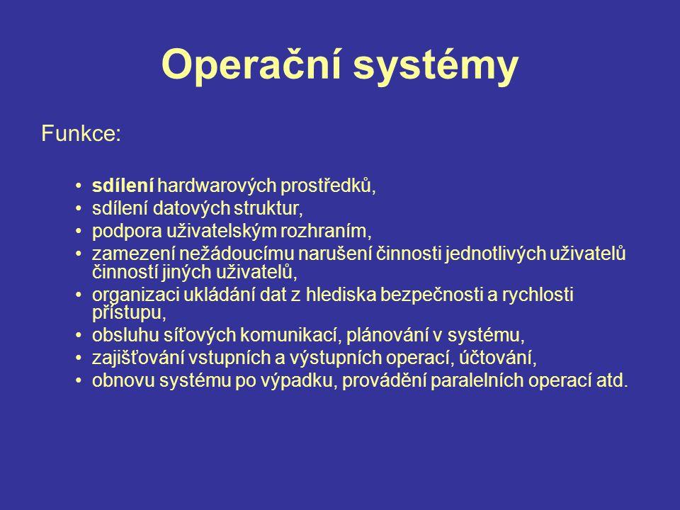 Operační systém Požadavky –m–musí mít přehled o jednotlivých prostředcích (nepřetržitě sledovat jejich stav), –m–musí realizovat pravidla přidělování prostředků (komu, kdy, kolik, jakého druhu prostředku), –m–musí provádět vlastní přidělování prostředků (ve vhodném okamžiku), –a–a vyžadovat jejich vrácení (ve vhodném okamžiku).