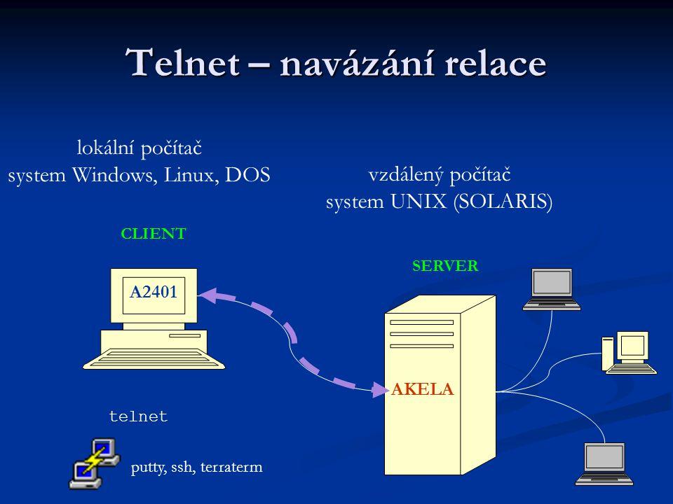 Telnet – navázání relace A2401 lokální počítač system Windows, Linux, DOS AKELA vzdálený počítač system UNIX (SOLARIS) telnet putty, ssh, terraterm CLIENT SERVER