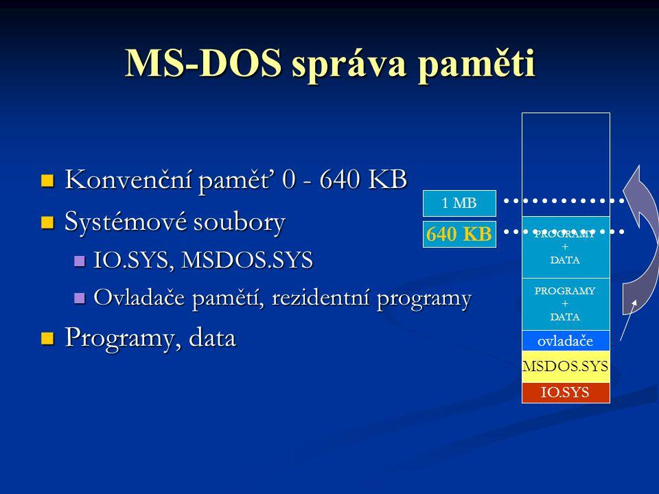 MS-DOS správa paměti Konvenční paměť 0 - 640 KB Konvenční paměť 0 - 640 KB Systémové soubory Systémové soubory IO.SYS, MSDOS.SYS IO.SYS, MSDOS.SYS Ovladače pamětí, rezidentní programy Ovladače pamětí, rezidentní programy Programy, data Programy, data IO.SYS MSDOS.SYS PROGRAMY + DATA ovladače 1 MB PROGRAMY + DATA 640 KB