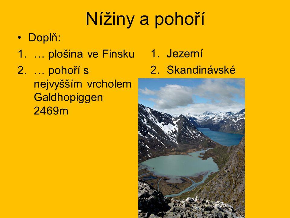 Nížiny a pohoří Doplň: 1.… plošina ve Finsku 2.… pohoří s nejvyšším vrcholem Galdhopiggen 2469m 1.Jezerní 2.Skandinávské