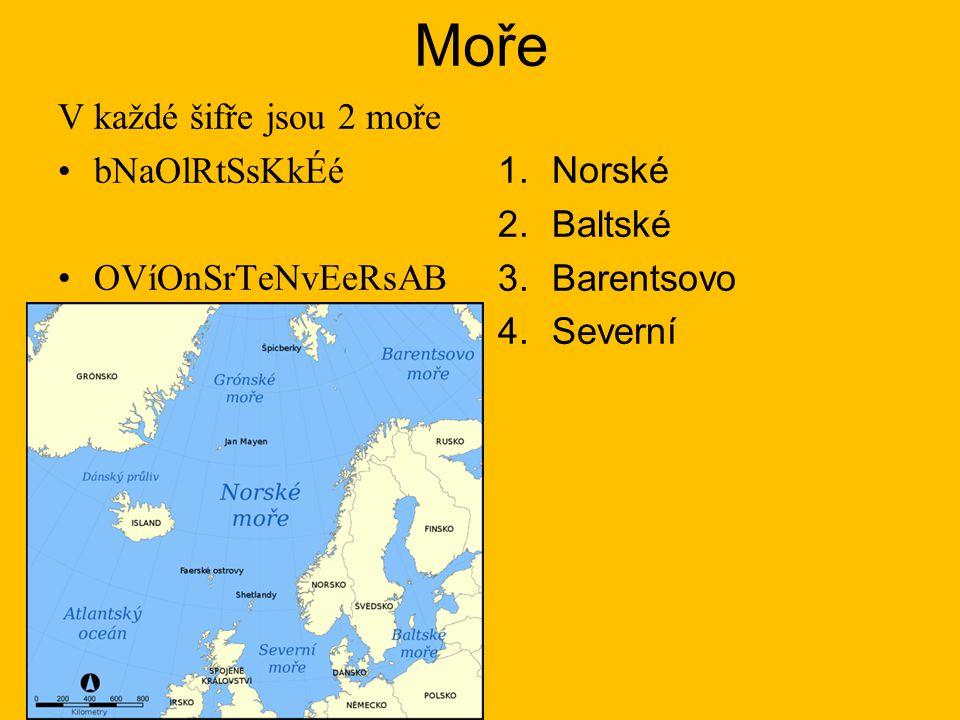 Moře V každé šifře jsou 2 moře bNaOlRtSsKkÉé OVíOnSrTeNvEeRsAB 1.Norské 2.Baltské 3.Barentsovo 4.Severní