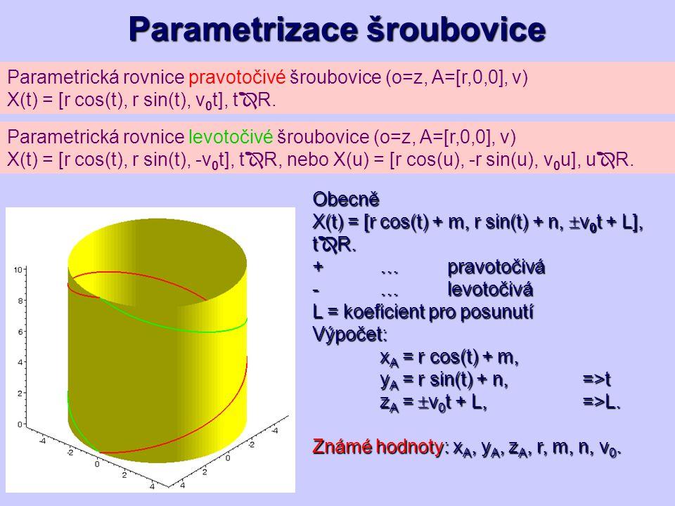 Parametrická rovnice pravotočivé šroubovice (o=z, A=[r,0,0], v) X(t) = [r cos(t), r sin(t), v 0 t], t  R. Parametrizace šroubovice Parametrická rovni