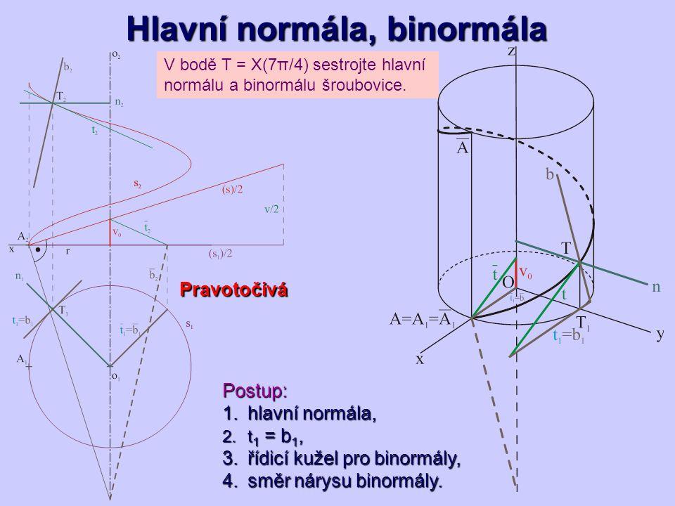 Hlavní normála, binormála V bodě T = X(7π/4) sestrojte hlavní normálu a binormálu šroubovice. Postup: 1.hlavní normála, 2.t 1 = b 1, 3.řídicí kužel pr