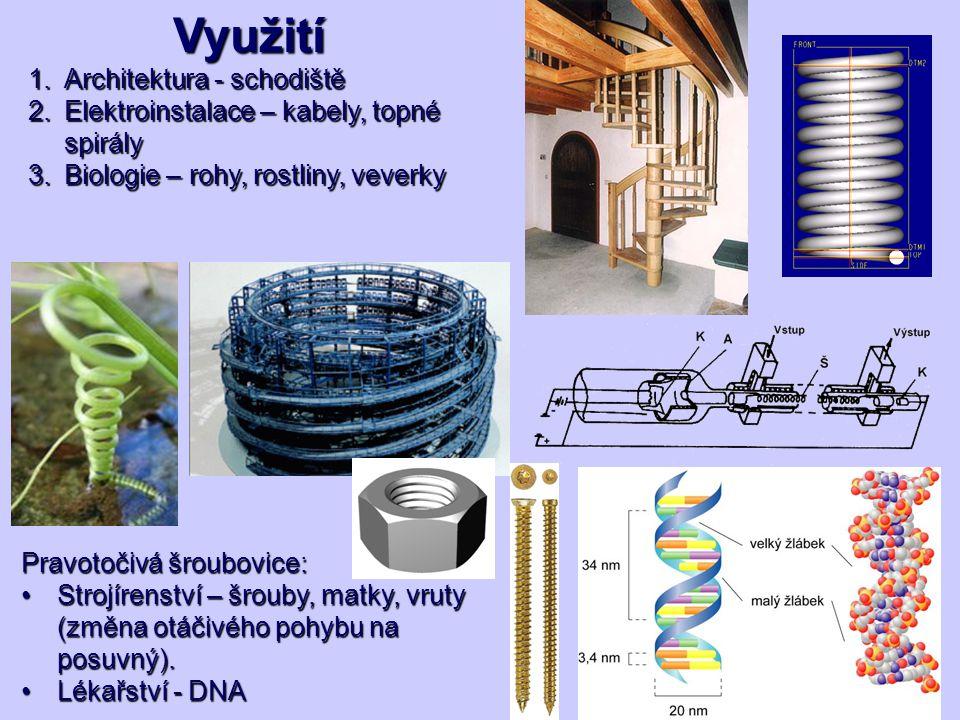 Využití 1.Architektura - schodiště 2.Elektroinstalace – kabely, topné spirály 3.Biologie – rohy, rostliny, veverky Pravotočivá šroubovice: Strojírenst
