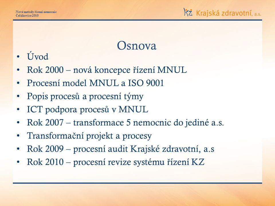 Nové metody ř ízení nemocnic Č elákovice 2010 Transforma č ní projekt a procesy Privátní optická sí ť nemocnic
