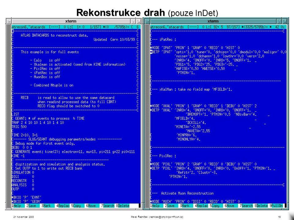 21 November 2003Pavel Řezníček (reznicek@ipnp.troja.mff.cuni.cz)15 2 rekonstrukční algoritmy: xKalman a iPatRec xKalman – původně vycházel z TRT (histogramování) a prováděl exptrapolaci do SCT a Pixel.