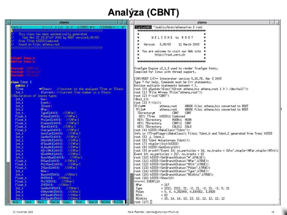 21 November 2003Pavel Řezníček (reznicek@ipnp.troja.mff.cuni.cz)19 Analýza (CBNT) informace o generovaných částicích (viz.např.: obsah pythiaB.ntup ) parametry zrekonstruovaných drah, naměřené energie v kalorimetrech, dráhy v mionových detektorech, … rekonstrukční programy přiřazují dráhy původním generovaným částicím (protože ze simulací je známo, který hit byl způsoben jakou částicí), což umožňuje testovat efektivitu rekonstrukčních programů i např.