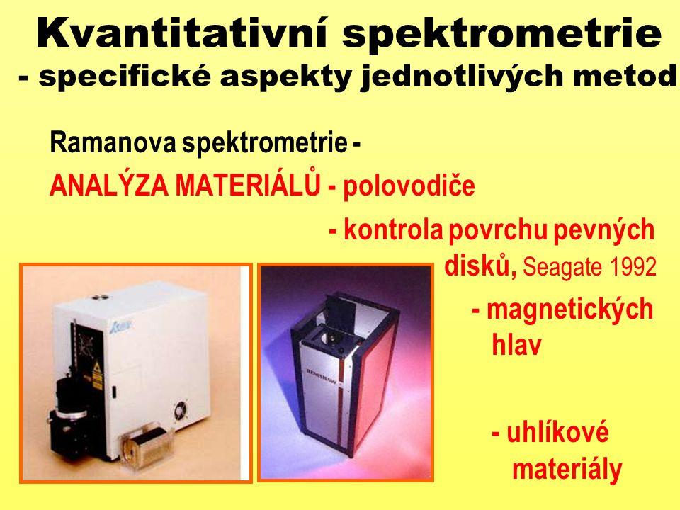 Kvantitativní spektrometrie - specifické aspekty jednotlivých metod Ramanova spektrometrie - ANALÝZA MATERIÁLŮ - polovodiče - kontrola povrchu pevných