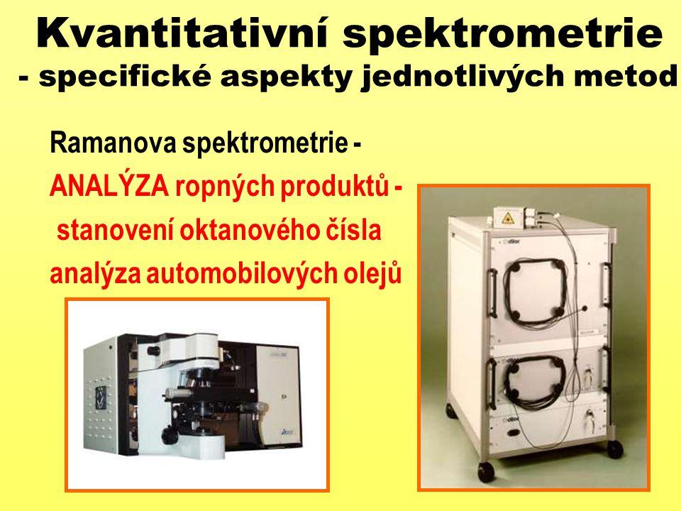 Kvantitativní spektrometrie - specifické aspekty jednotlivých metod Ramanova spektrometrie - ANALÝZA ropných produktů - stanovení oktanového čísla ana