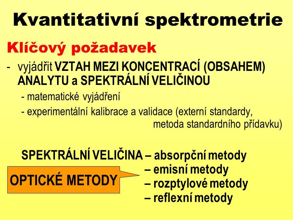 Kvantitativní spektrometrie Klíčový požadavek -vyjádřit VZTAH MEZI KONCENTRACÍ (OBSAHEM) ANALYTU a SPEKTRÁLNÍ VELIČINOU - matematické vyjádření - expe