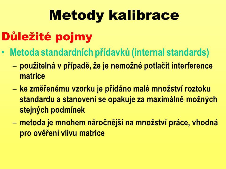 Metody kalibrace Důležité pojmy Metoda standardních přídavků (internal standards) – použitelná v případě, že je nemožné potlačit interference matrice