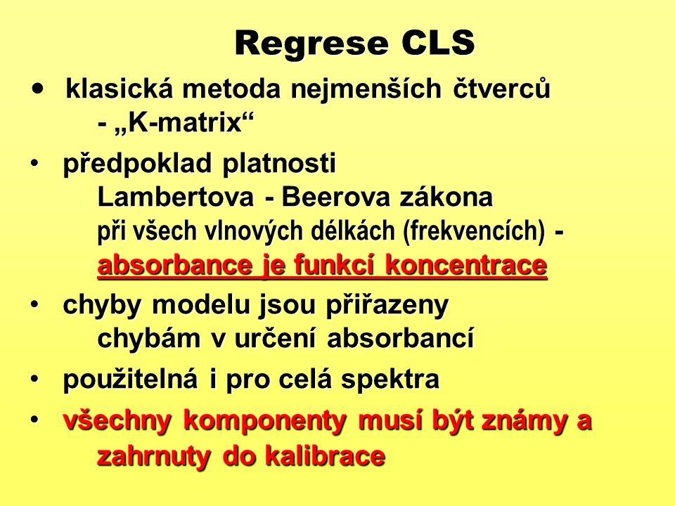 """Regrese CLS klasická metoda nejmenších čtverců - """"K-matrix"""" předpoklad platnosti Lambertova - Beerova zákona při všech vlnových délkách (frekvencích)"""