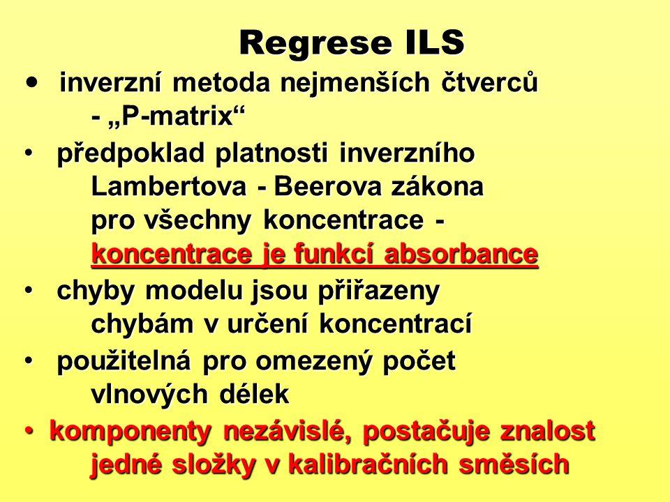 """Regrese ILS inverzní metoda nejmenších čtverců - """"P-matrix"""" předpoklad platnosti inverzního Lambertova - Beerova zákona pro všechny koncentrace - konc"""