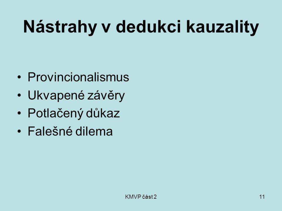 KMVP část 211 Nástrahy v dedukci kauzality Provincionalismus Ukvapené závěry Potlačený důkaz Falešné dilema