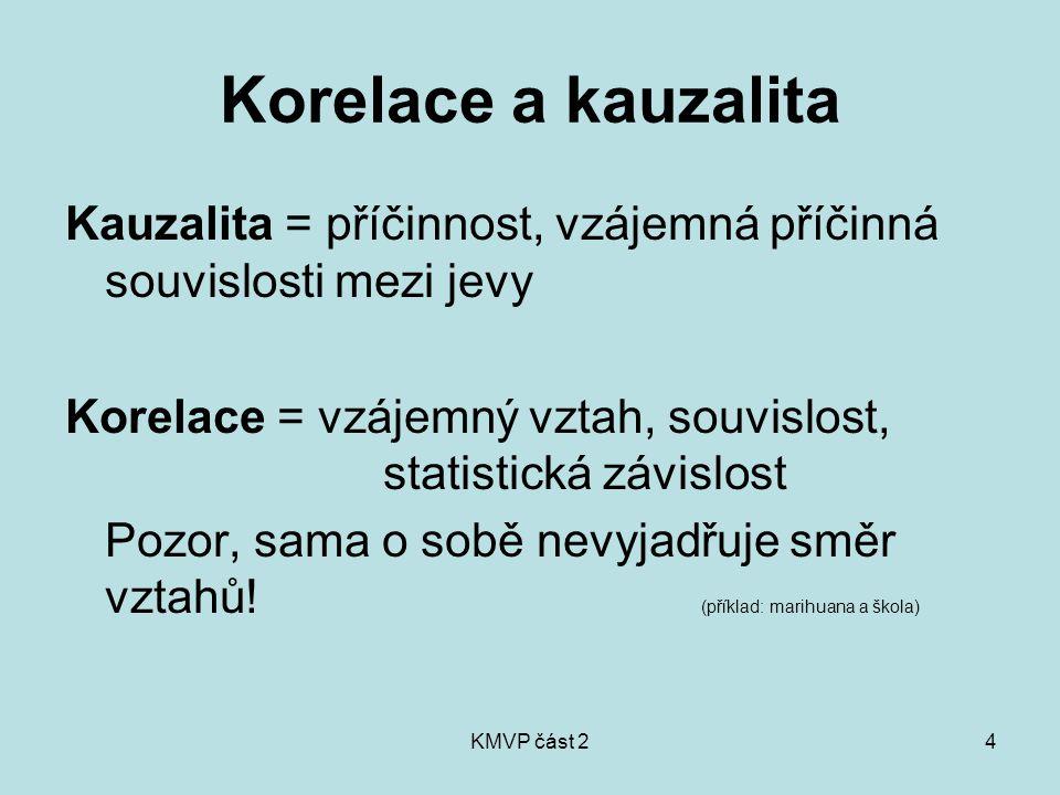 KMVP část 24 Korelace a kauzalita Kauzalita = příčinnost, vzájemná příčinná souvislosti mezi jevy Korelace = vzájemný vztah, souvislost, statistická závislost Pozor, sama o sobě nevyjadřuje směr vztahů.