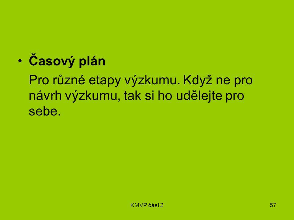 KMVP část 257 Časový plán Pro různé etapy výzkumu.