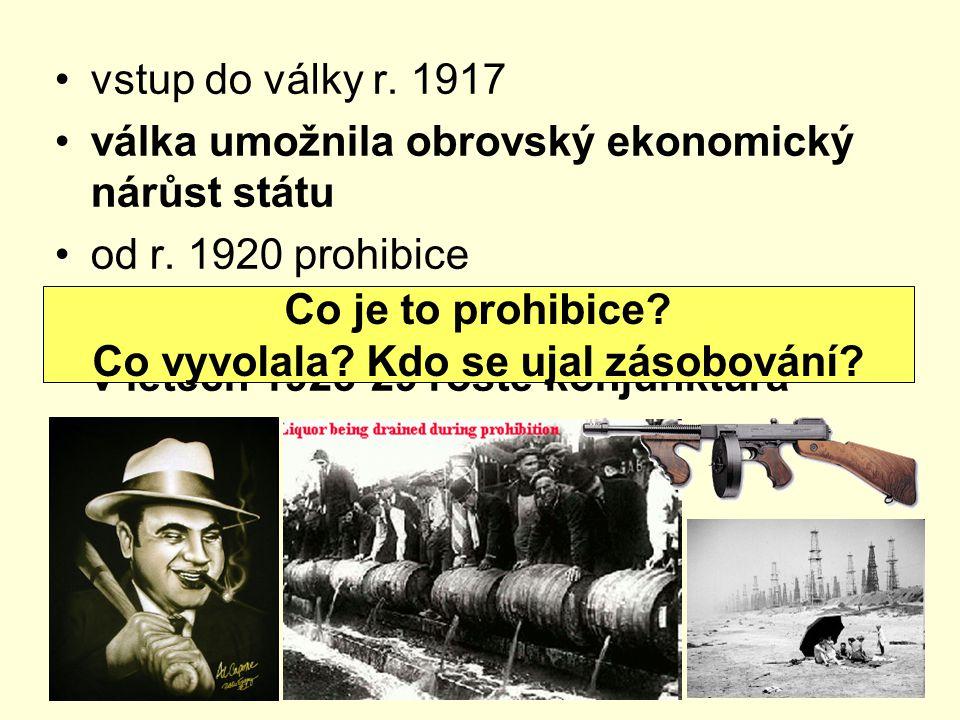 vstup do války r. 1917 válka umožnila obrovský ekonomický nárůst státu od r. 1920 prohibice r.1922 stabilizace hospodářství v letech 1923-29 roste kon