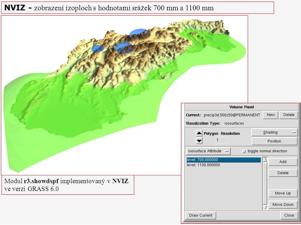 NVIZ - NVIZ - zobrazení izoploch s hodnotami srážek 700 mm a 1100 mm Modul r3.showdspf implementovaný v NVIZ ve verzi GRASS 6.0