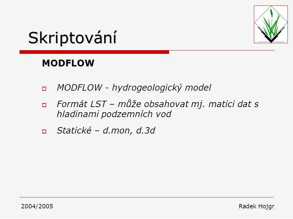 MODFLOW  MODFLOW - hydrogeologický model  Formát LST – může obsahovat mj. matici dat s hladinami podzemních vod  Statické – d.mon, d.3d 2004/2005 R