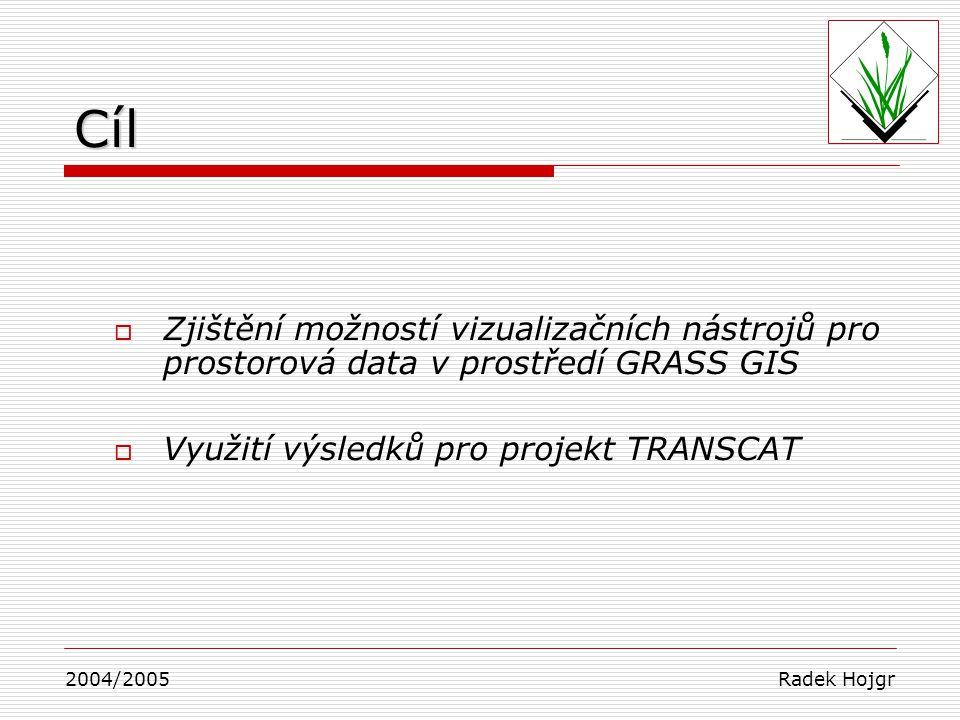 Cíl  Zjištění možností vizualizačních nástrojů pro prostorová data v prostředí GRASS GIS  Využití výsledků pro projekt TRANSCAT 2004/2005 Radek Hojg